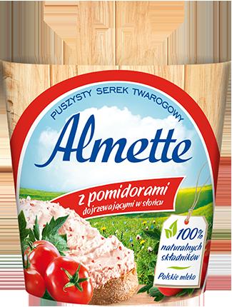 Almette z pomidorami dojrzewającymi wsłońcu